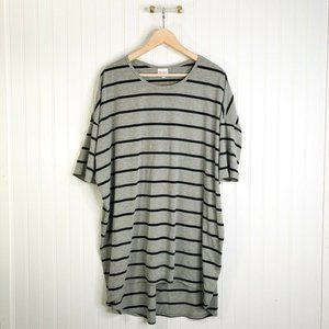 LuLaRoe Womens Perfect Tee T-Shirt Gray Stripe Sho